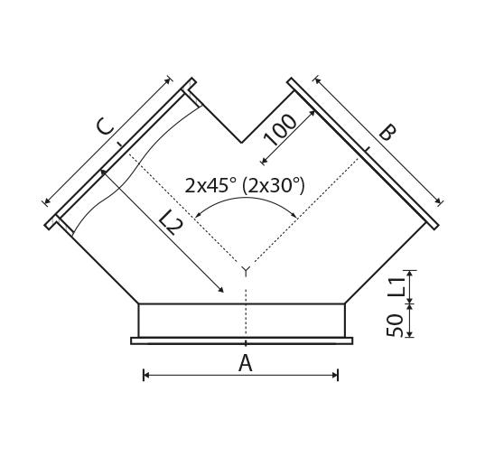 trójnik symetryczny ZWR1-TY30